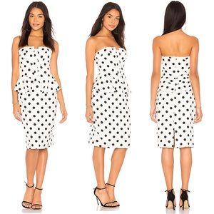 NEW Bardot Strapless Polka Dot Peplum Midi Dress